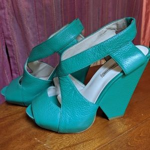 Kathryn Amberleigh Hand Crafted Teal Leather Heels